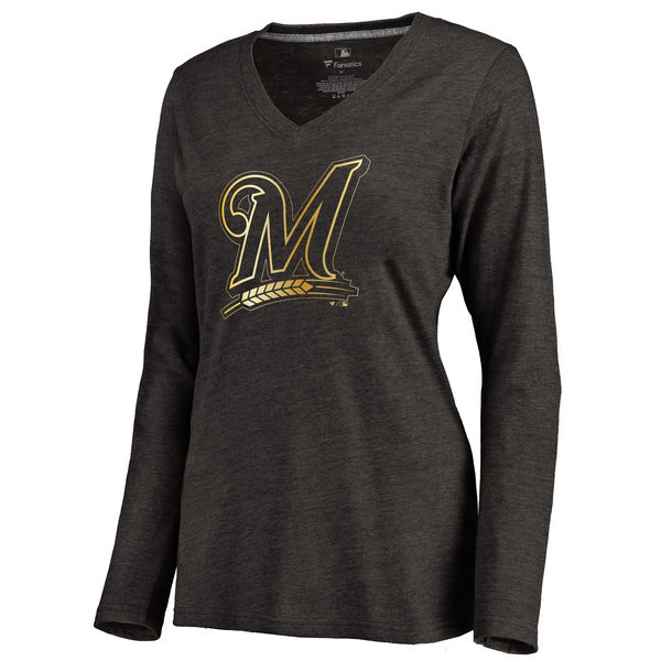 2020 MLB Milwaukee Brewers Women Gold Collection Pullover Hoodie Black 23