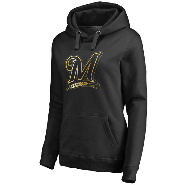 2020 MLB Milwaukee Brewers Women Gold Collection Pullover Hoodie Black