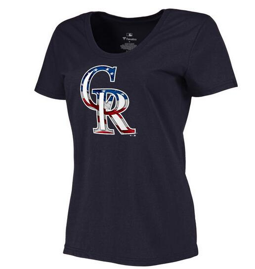 2020 MLB Women Colorado Rockies Navy Plus Sizes Banner Wave TShirt