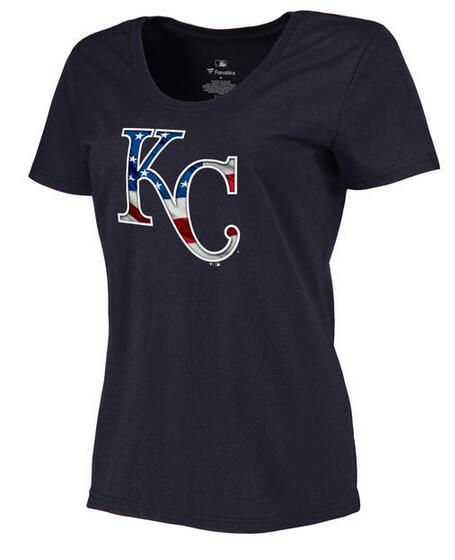 2020 MLB Women Kansas City Royals Navy Plus Sizes Banner Wave TShirt