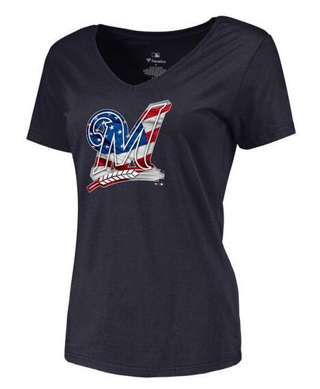 2020 MLB Women Milwaukee Brewers Navy Banner Wave Slim Fit TShirt