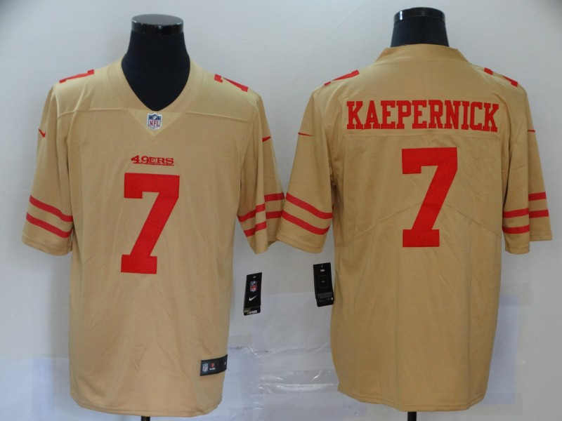 2020 Men San Francisco 49ers 7 Kaepernick yellow turn back Nike Vapor Untouchable Limited NFL Jerseys