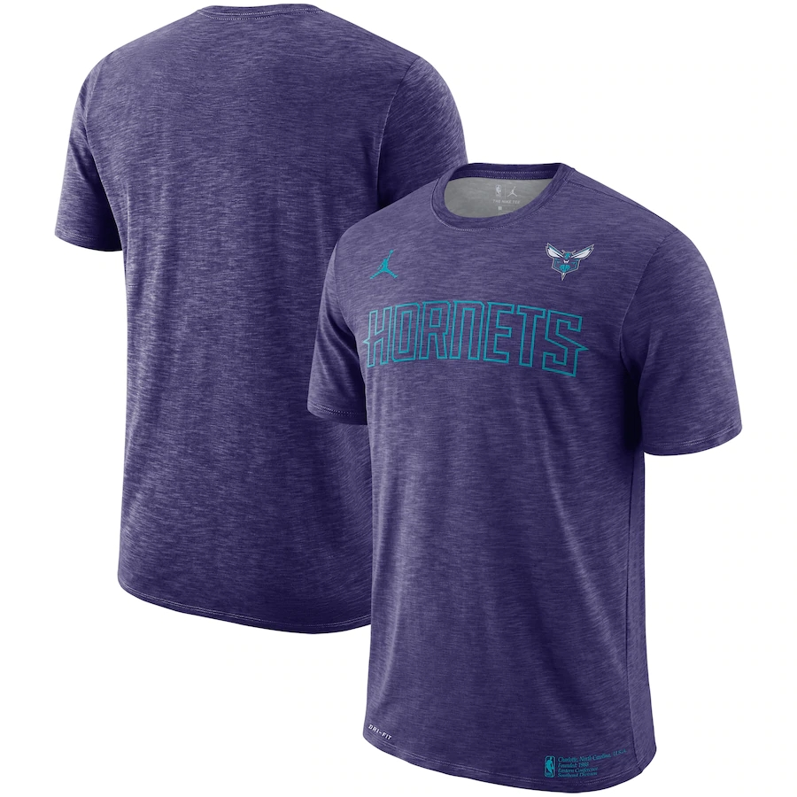 2020 NBA Men Nike Charlotte Hornets Heathered Purple Essential Facility Performance TShirt