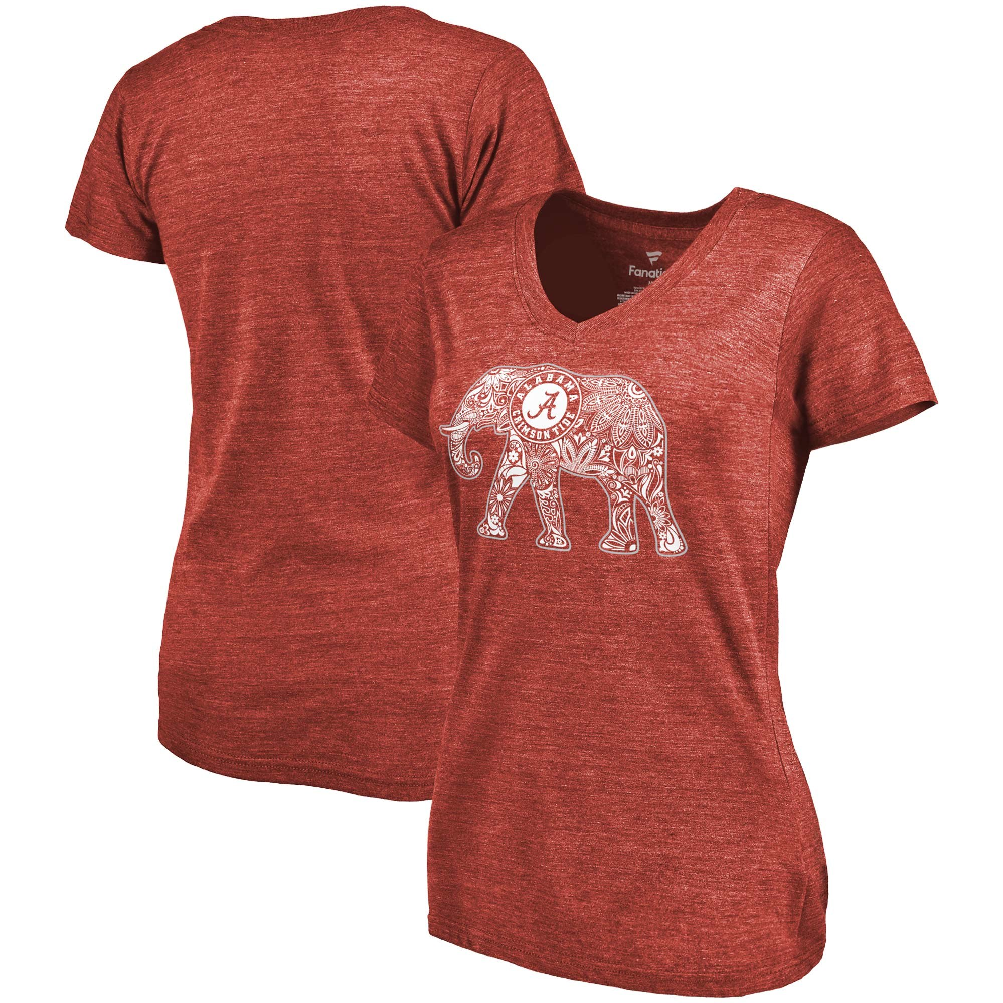 2020 NCAA Fanatics Branded Alabama Crimson Tide Women Crimson Hometown TriBlend VNeck TShirt