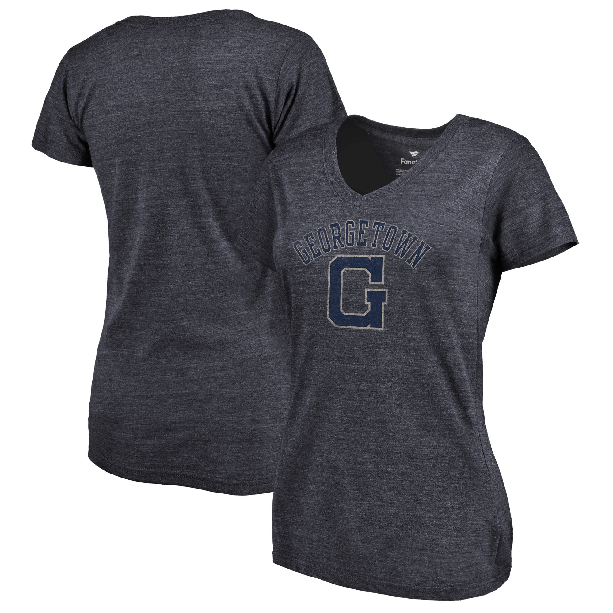 2020 NCAA Fanatics Branded Georgetown Hoyas Women Navy Vault Arch over Logo TriBlend VNeck TShirt