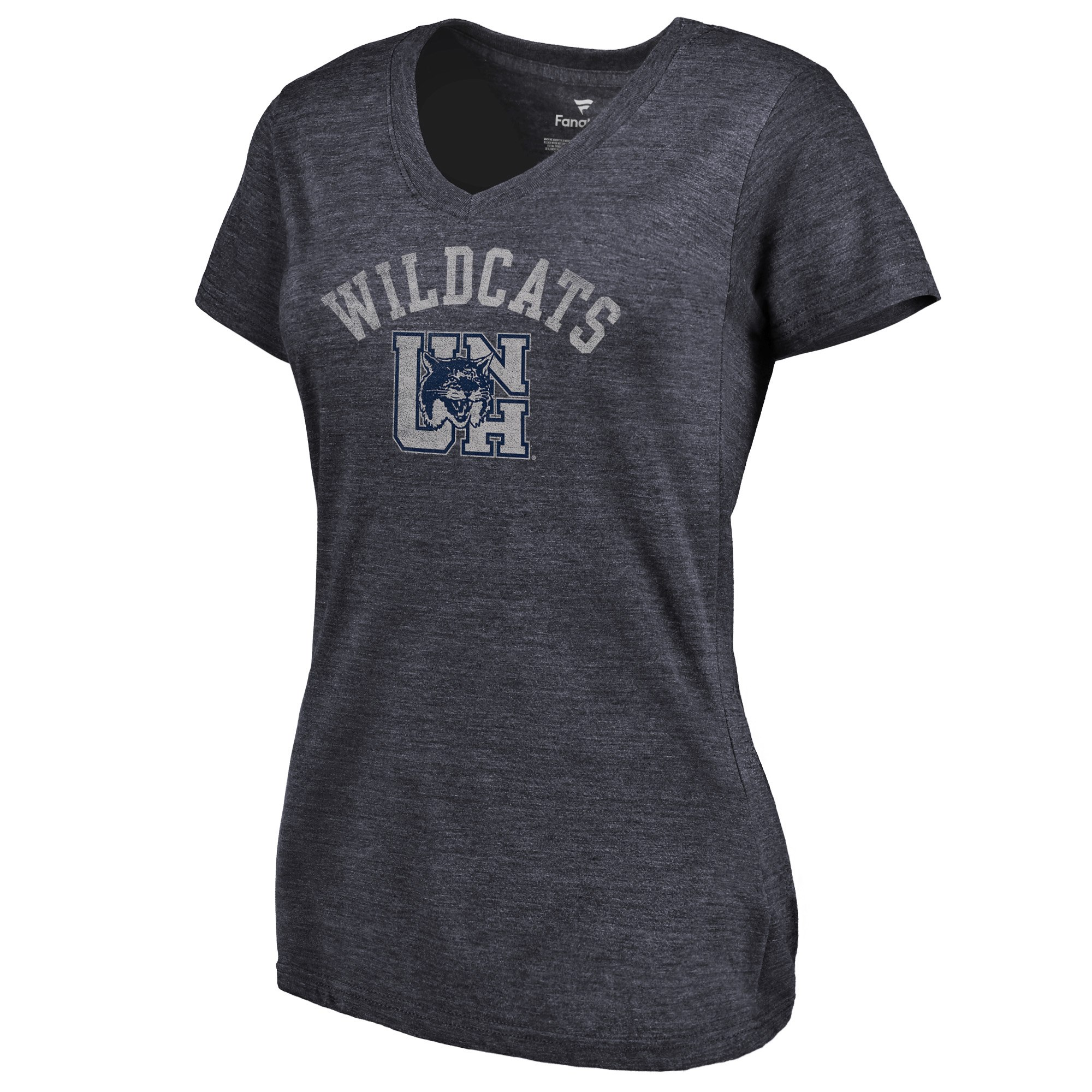 2020 NCAA Fanatics Branded New Hampshire Wildcats Women Navy Vault Arch over Logo TriBlend VNeck TShirt