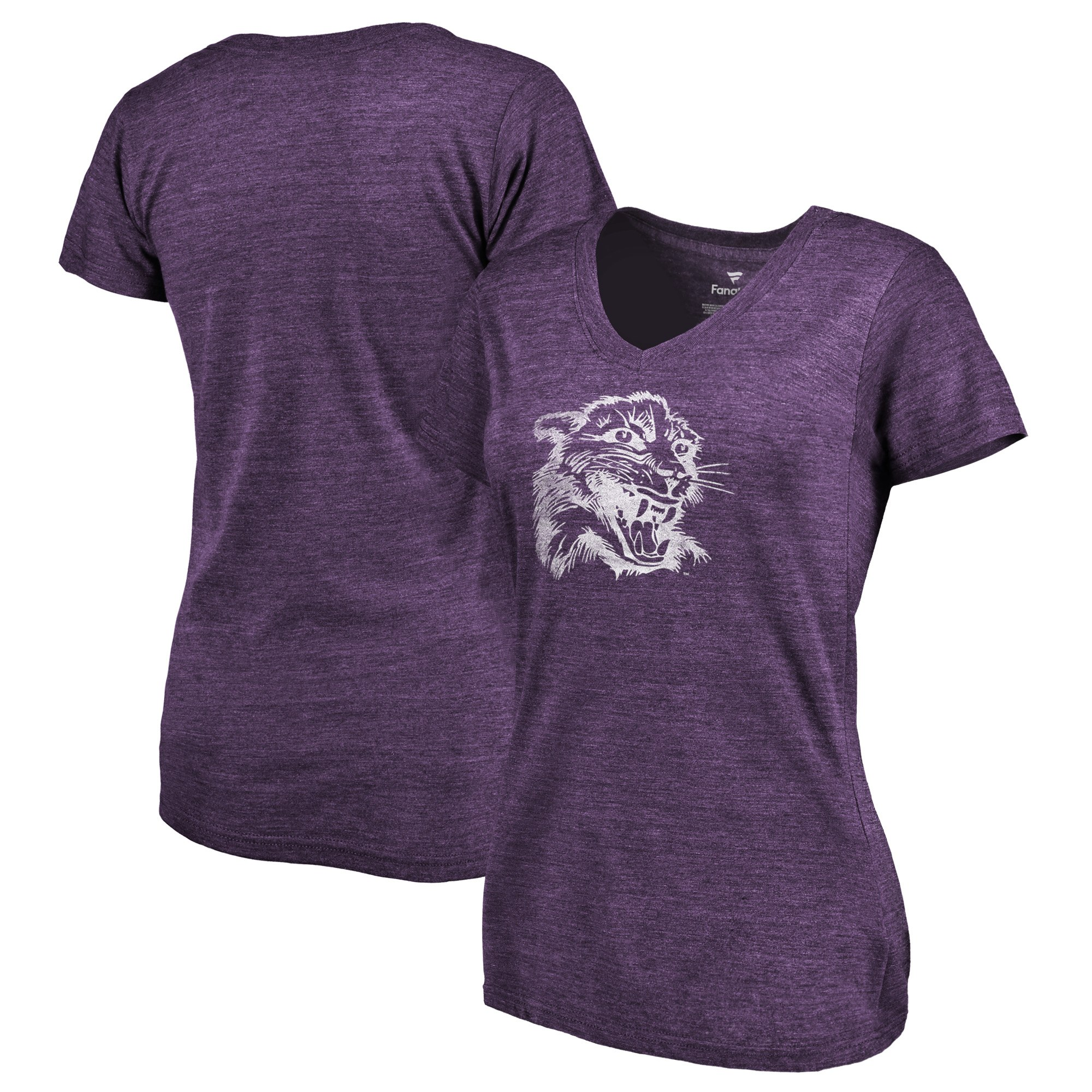 2020 NCAA Fanatics Branded Northwestern Wildcats Women Purple College Vault Primary Logo TriBlend VNeck TShirt