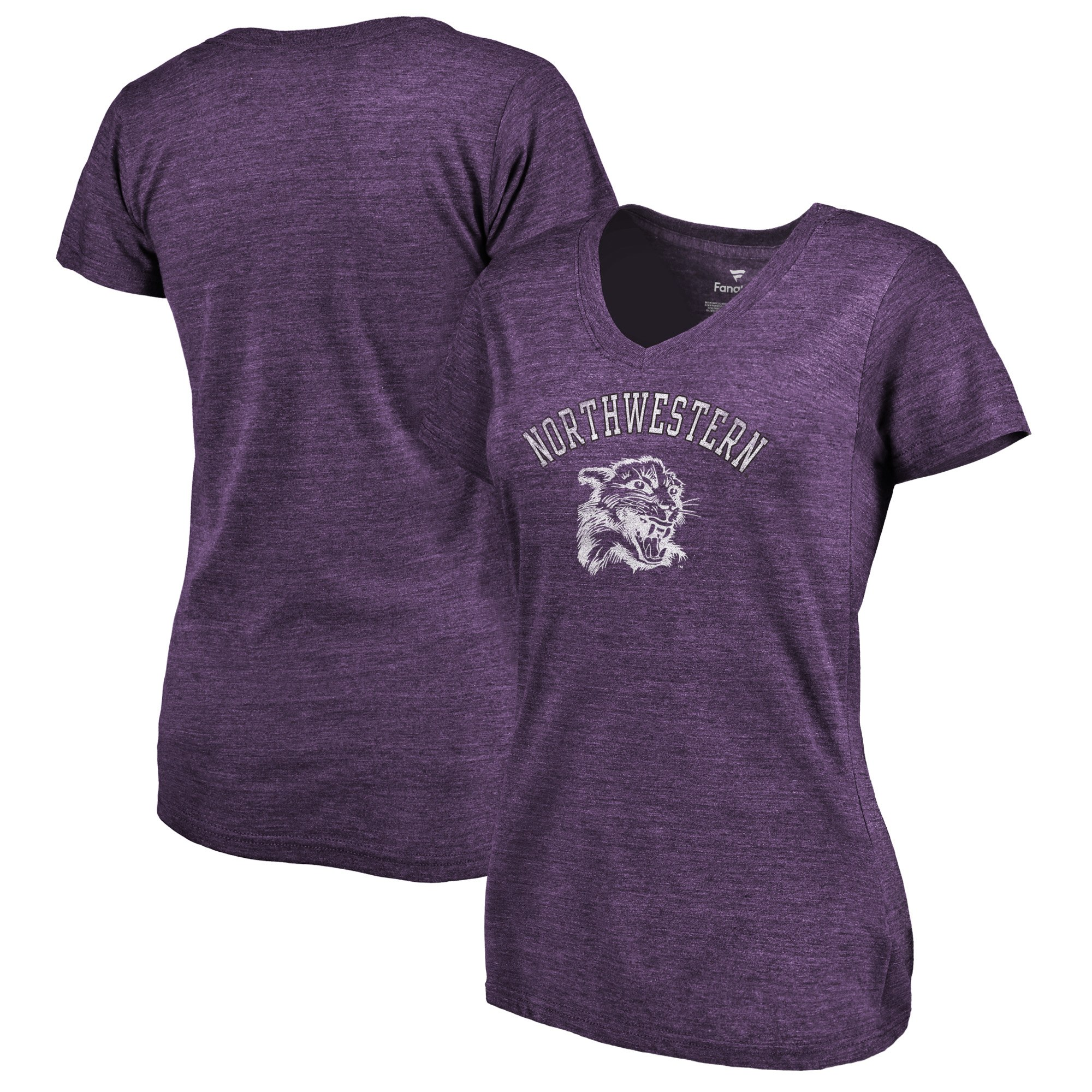 2020 NCAA Fanatics Branded Northwestern Wildcats Women Purple Vault Arch over Logo TriBlend VNeck TShirt