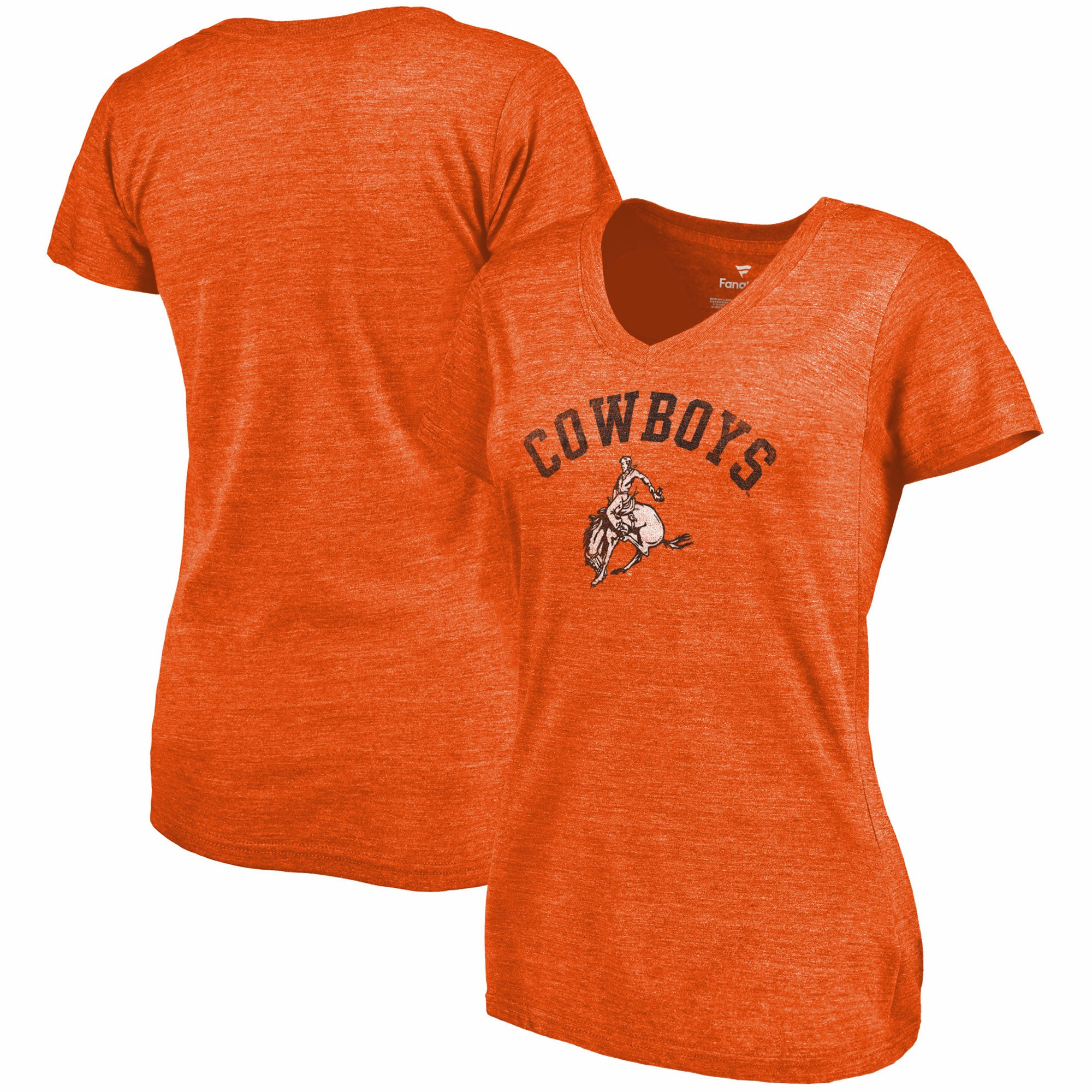 2020 NCAA Fanatics Branded Oklahoma State Cowboys Women Orange Vault Arch Over Logo TriBlend VNeck TShirt
