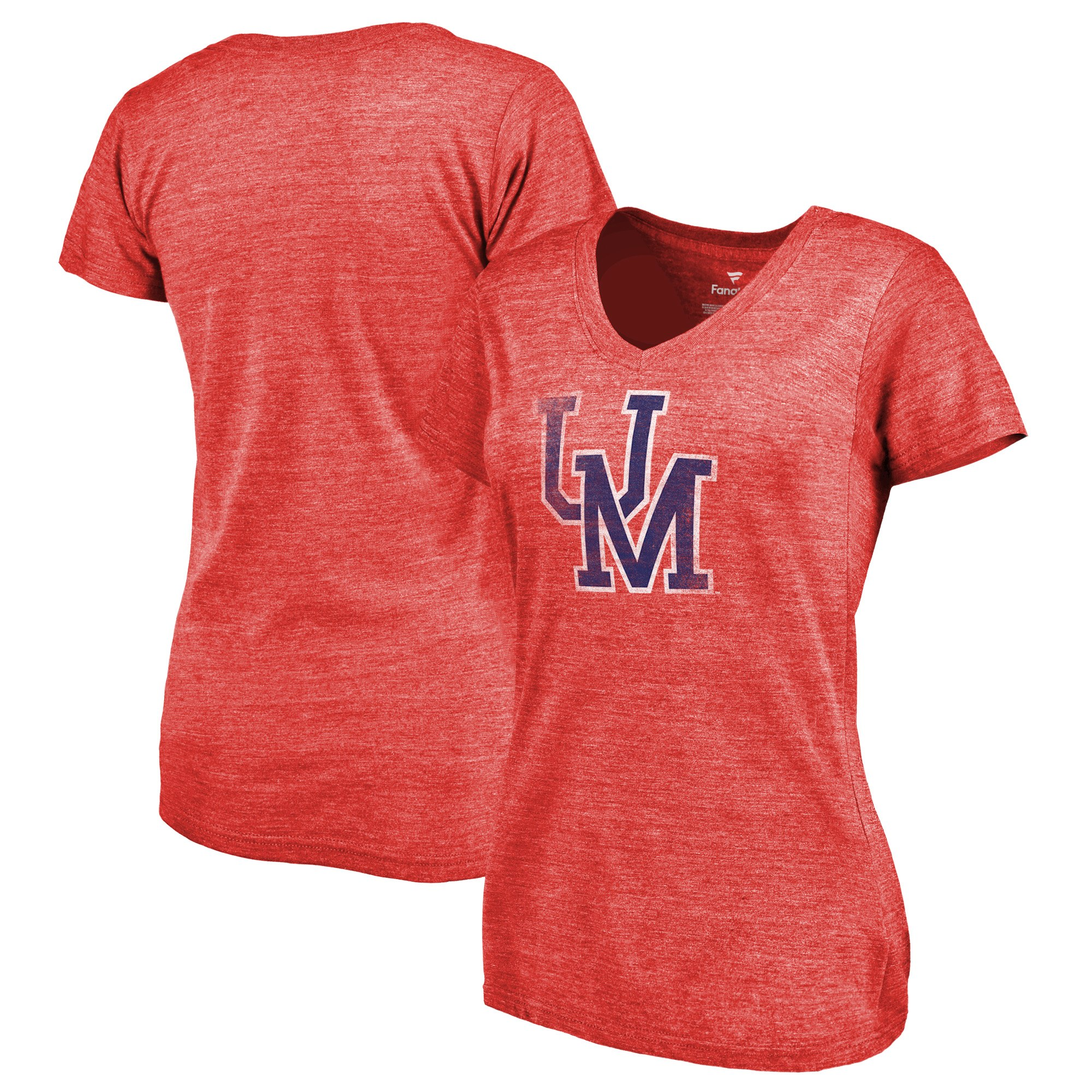2020 NCAA Fanatics Branded Ole Miss Rebels Women Red College Vault Primary Logo TriBlend VNeck TShirt