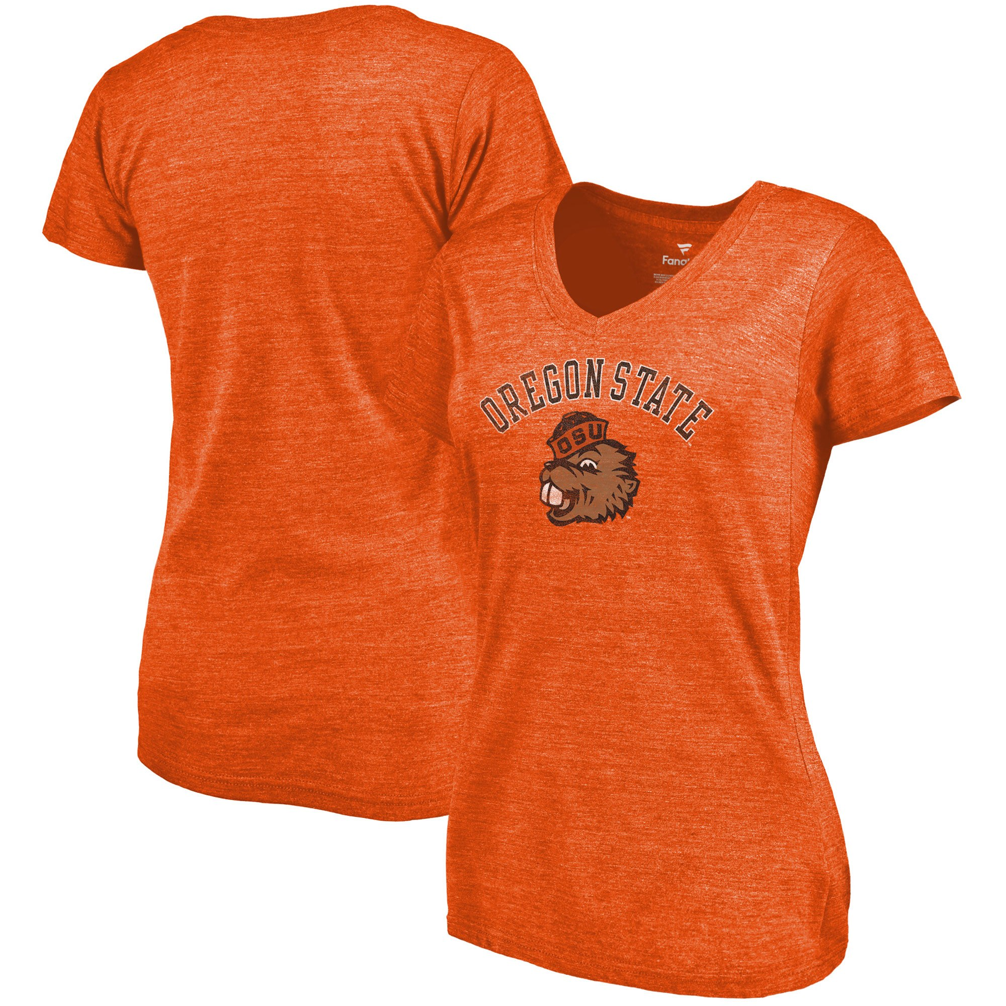 2020 NCAA Fanatics Branded Oregon State Beavers Women Orange Vault Arch Over Logo TriBlend VNeck TShirt