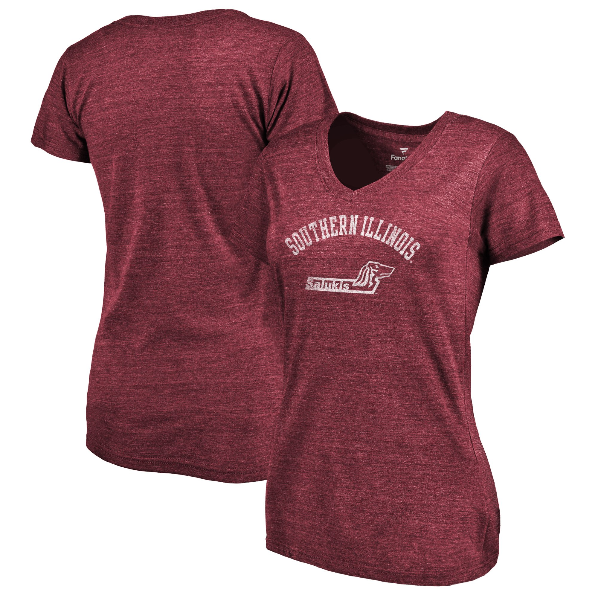 2020 NCAA Fanatics Branded Southern Illinois Salukis Women Garnet Vault Arch over Logo TriBlend VNeck TShirt