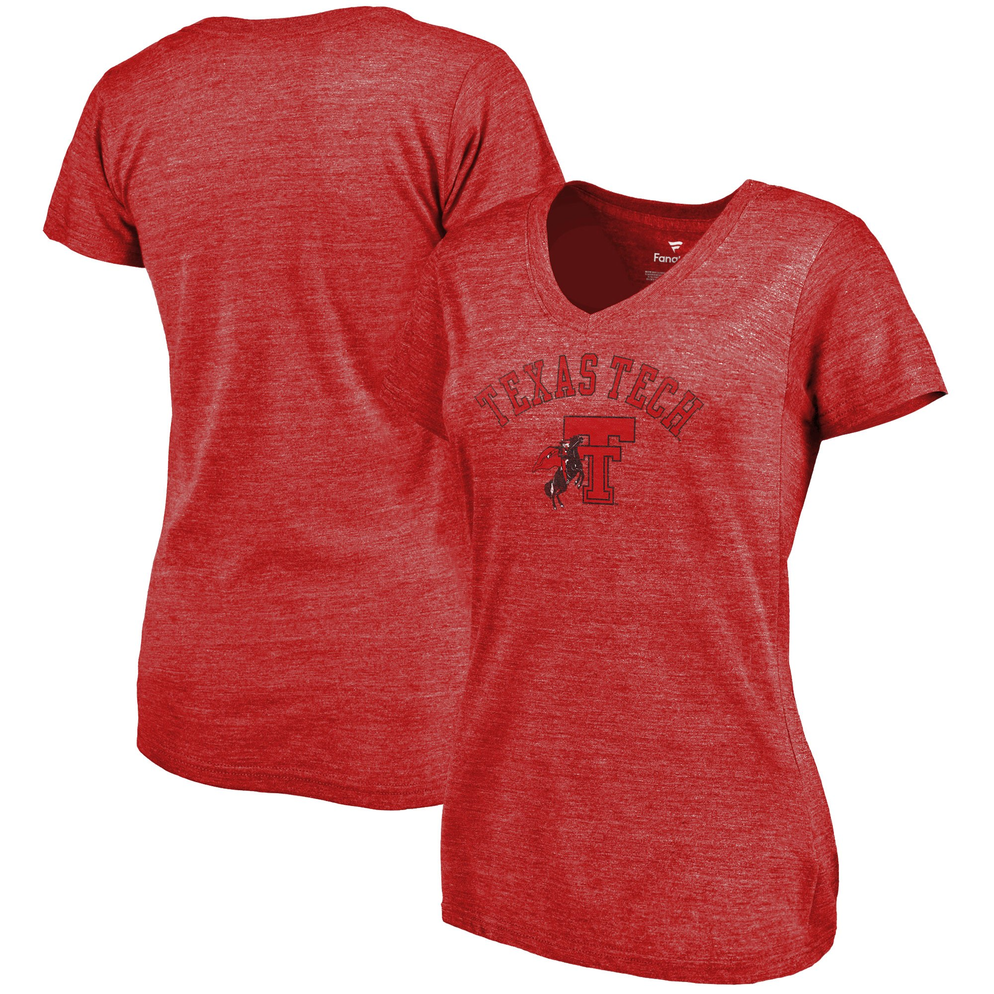 2020 NCAA Fanatics Branded Texas Tech Red Raiders Women Red Vault Arch Over Logo TriBlend VNeck TShirt