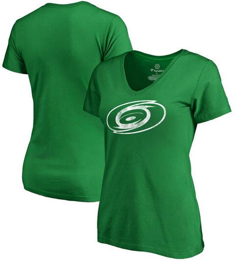 2020 NHL Carolina Hurricanes Fanatics Branded Women Plus Sizes St. Patrick Day White Logo TShirt Kelly Green