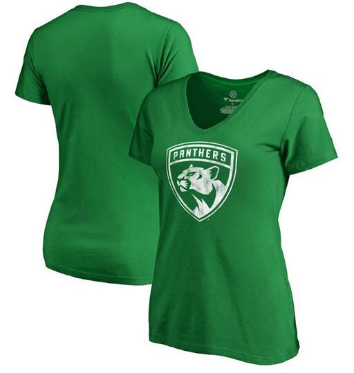 2020 NHL Florida Panthers Fanatics Branded Women St. Patrick Day White Logo TShirt Kelly Green