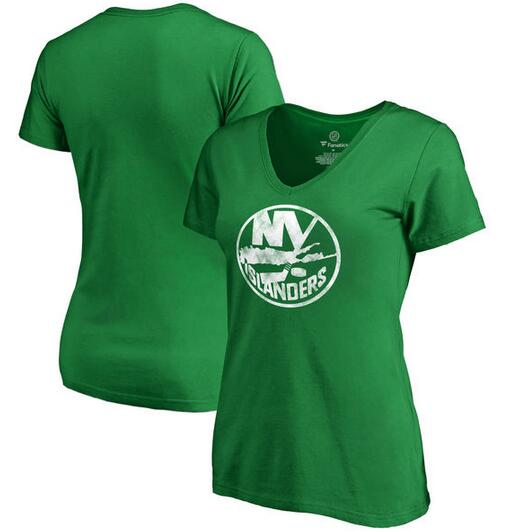 2020 NHL New York Islanders Fanatics Branded Women Plus Sizes St. Patrick Day White Logo TShirt Kelly Green