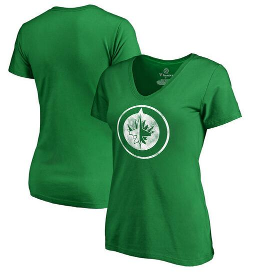 2020 NHL Winnipeg Jets Fanatics Branded Women St. Patrick Day White Logo TShirt Kelly Green