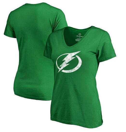 2020 NHLTampa Bay Lightning Fanatics Branded Women Plus Sizes St. Patrick Day White Logo TShirt Kelly Green