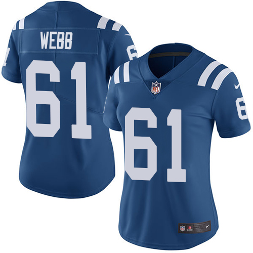 Indianapolis Colts 61 Limited Webb Royal Blue Nike NFL Home Women Vapor Untouchable jerseys