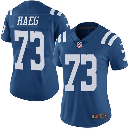 Indianapolis Colts 73 Limited Joe Haeg Royal Blue Nike NFL Women Rush Vapor Untouchable jersey
