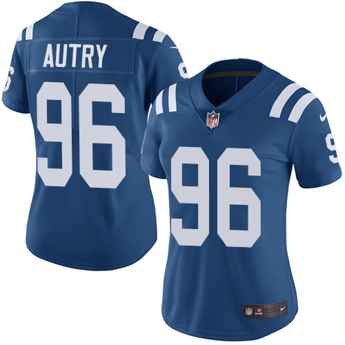Indianapolis Colts 96 Limited Denico Autry Royal Blue Nike NFL Home Women Vapor Untouchable jerseys