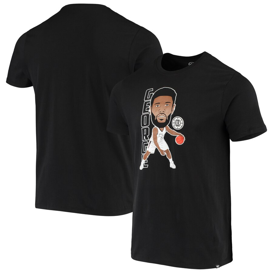 Men 2020 NBA 47 Paul George LA Clippers Black Bobblehead Player TShirt