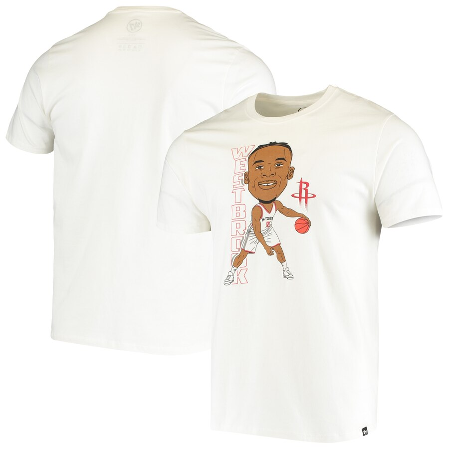 Men 2020 NBA 47 Russell Westbrook Houston Rockets White Bobblehead Player TShirt
