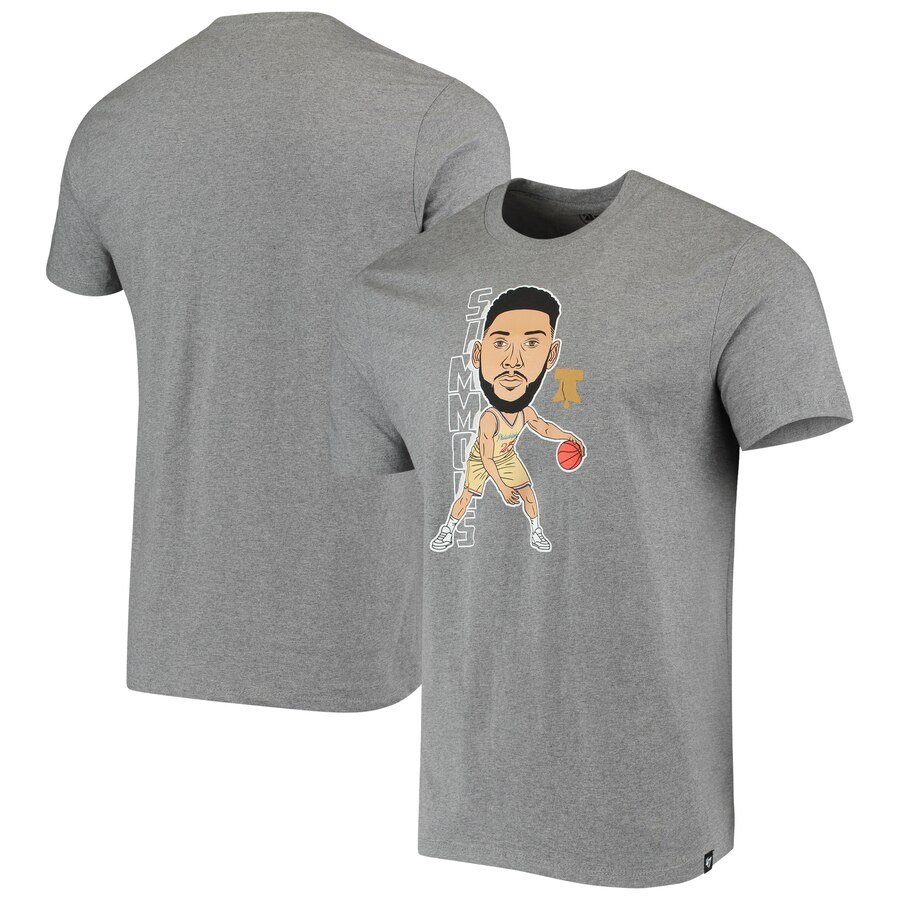 Men 2020 NBA Ben Simmons Philadelphia 76ers Gray Bobblehead Player TShirt.