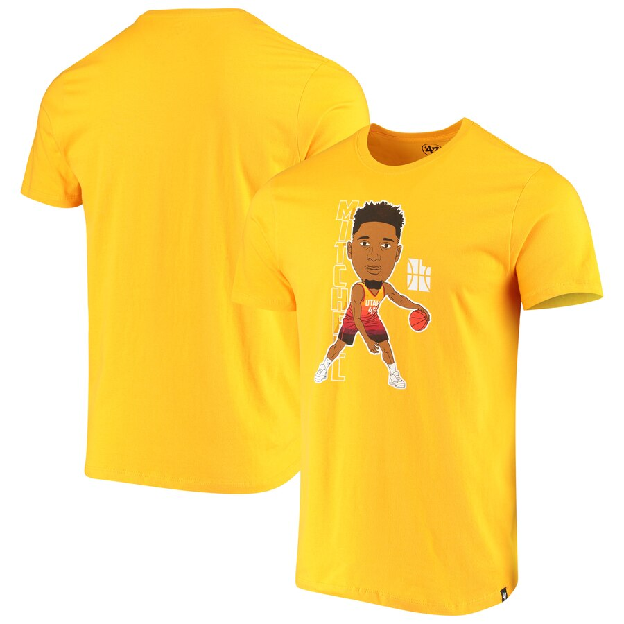 Men 2020 NBA Donovan Mitchell Utah Jazz Gold Bobblehead Player TShirt