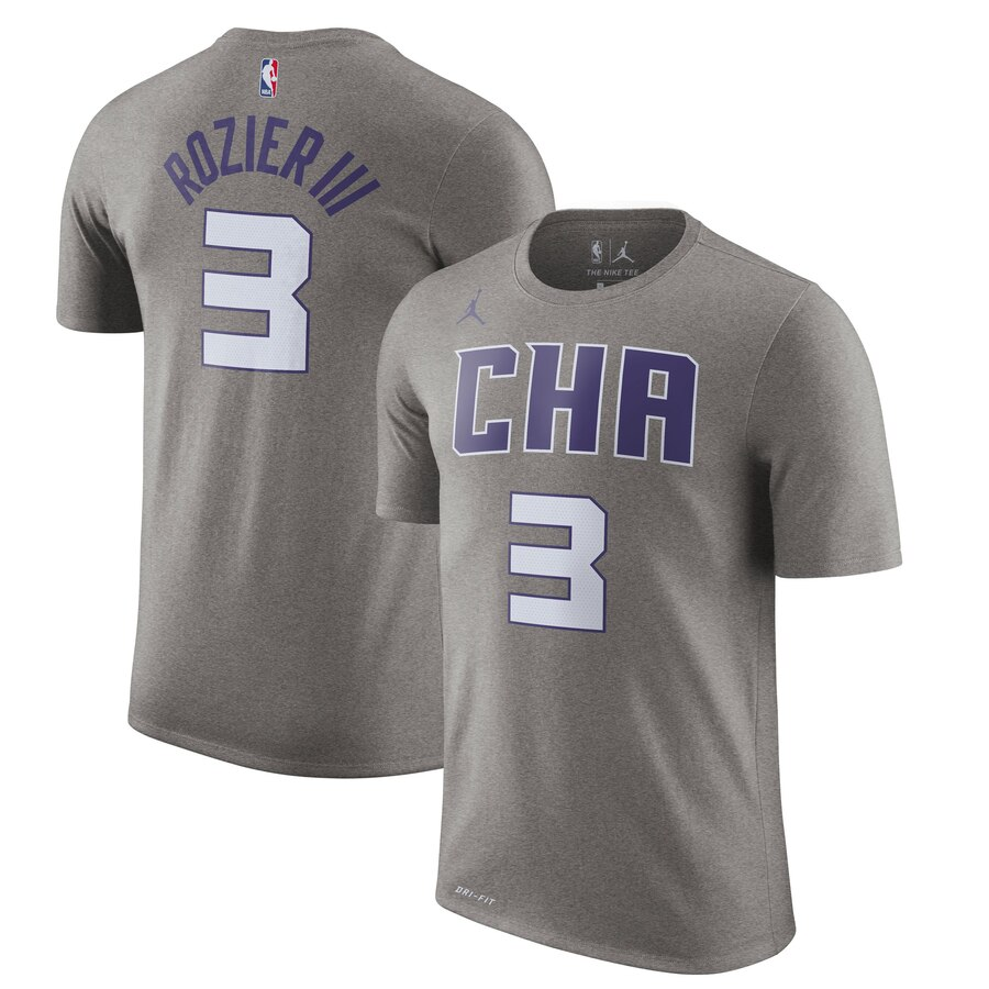 Men 2020 NBA Jordan Brand Terry Rozier Charlotte Hornets Heather Gray 201920 City Edition Name Number TShirt