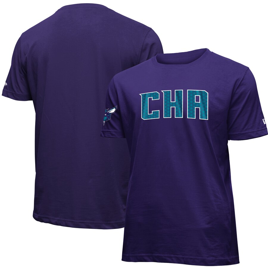 Men 2020 NBA New Era Charlotte Hornets Purple 201920 City Edition Brushed Jersey TShirt.