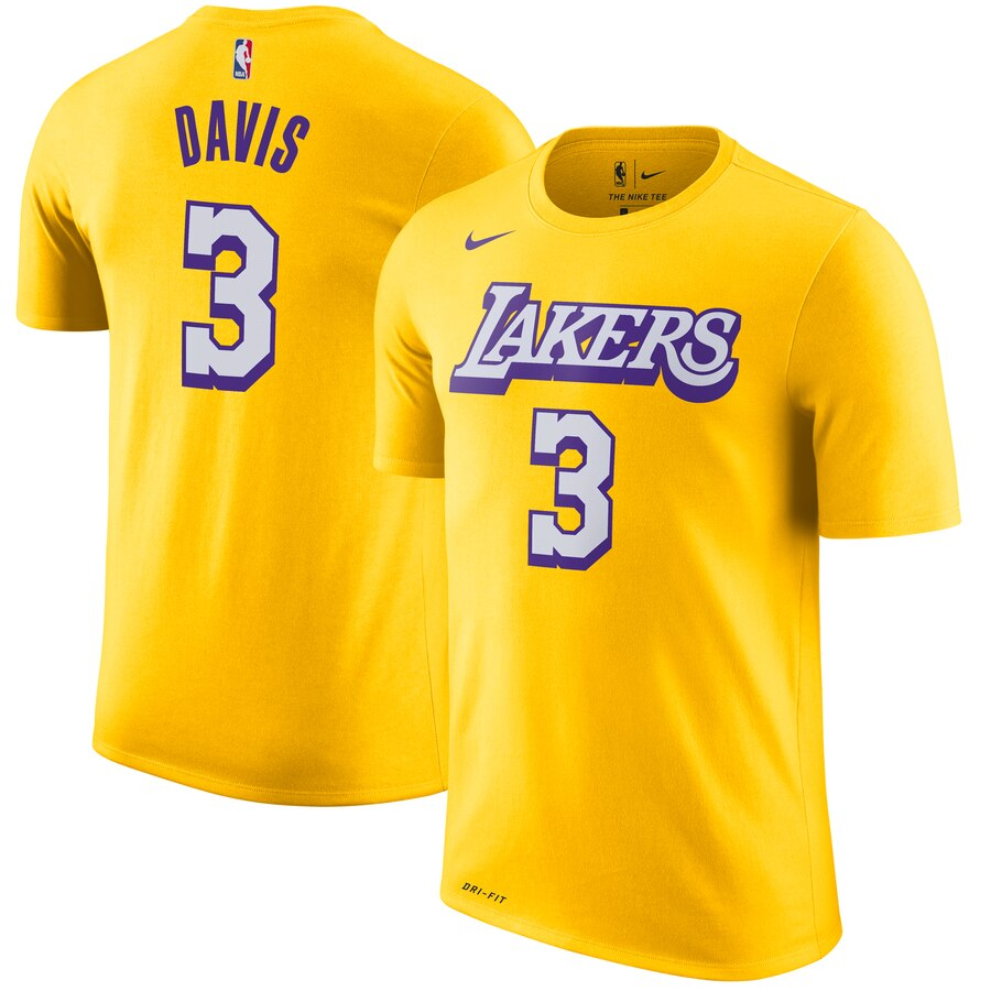 Men 2020 NBA Nike Anthony Davis Los Angeles Lakers Gold 201920 City Edition Name Number TShirt