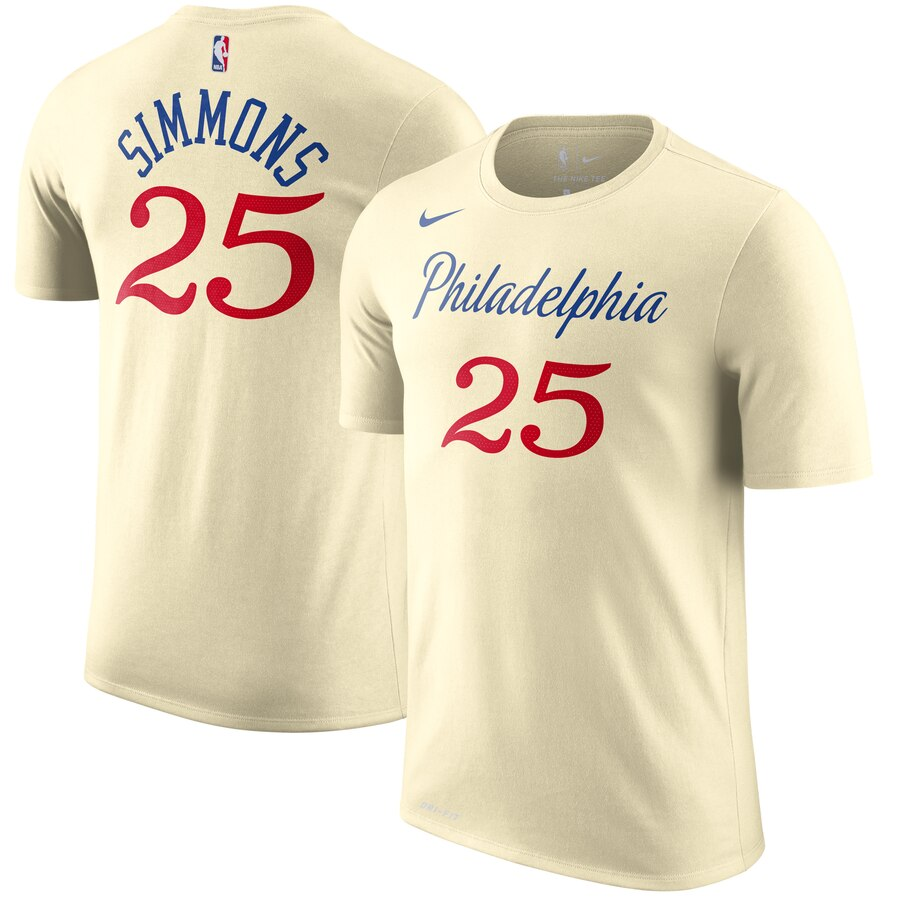Men 2020 NBA Nike Ben Simmons Philadelphia 76ers Cream 201920 City Edition Name Number TShirt