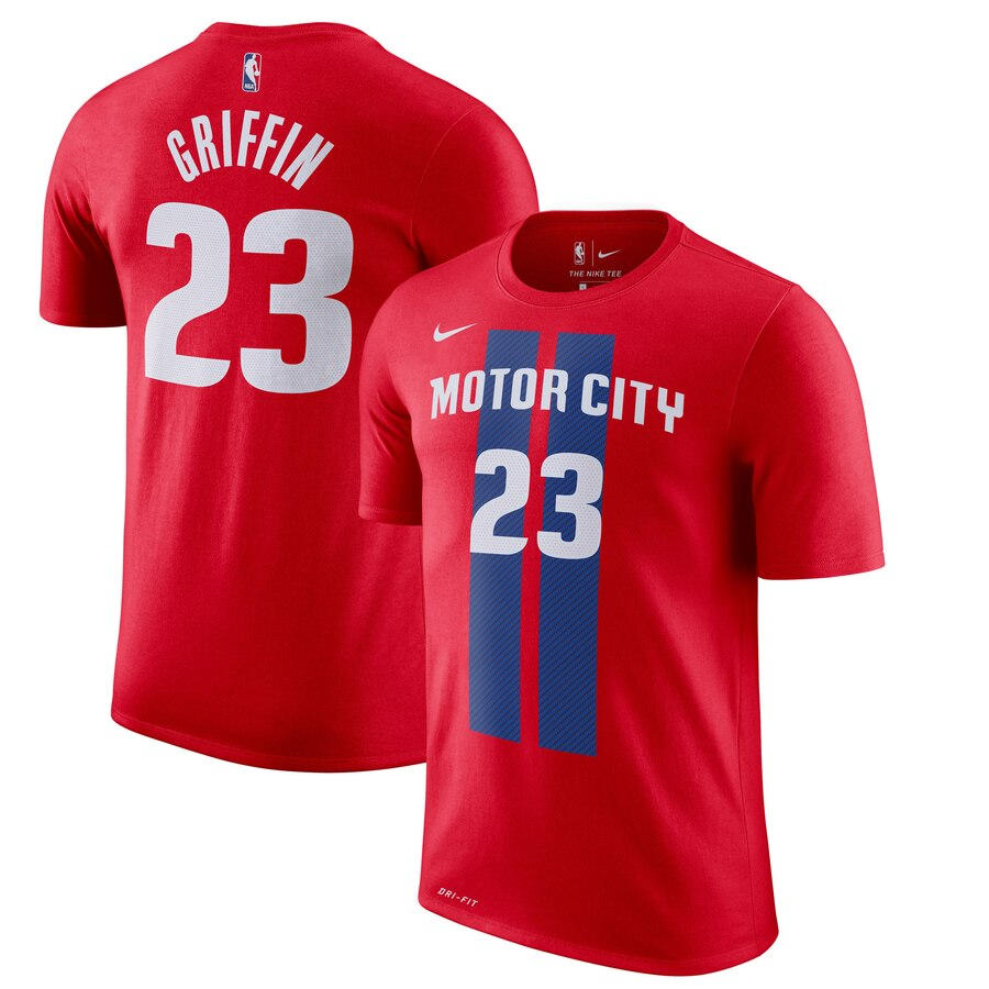 Men 2020 NBA Nike Blake Griffin Detroit Pistons Red 201920 City Edition Name Number TShirt