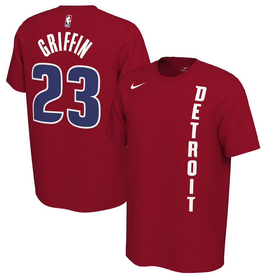 Men 2020 NBA Nike Blake Griffin Detroit Pistons Red 201920 Earned Edition Name Number TShirt.