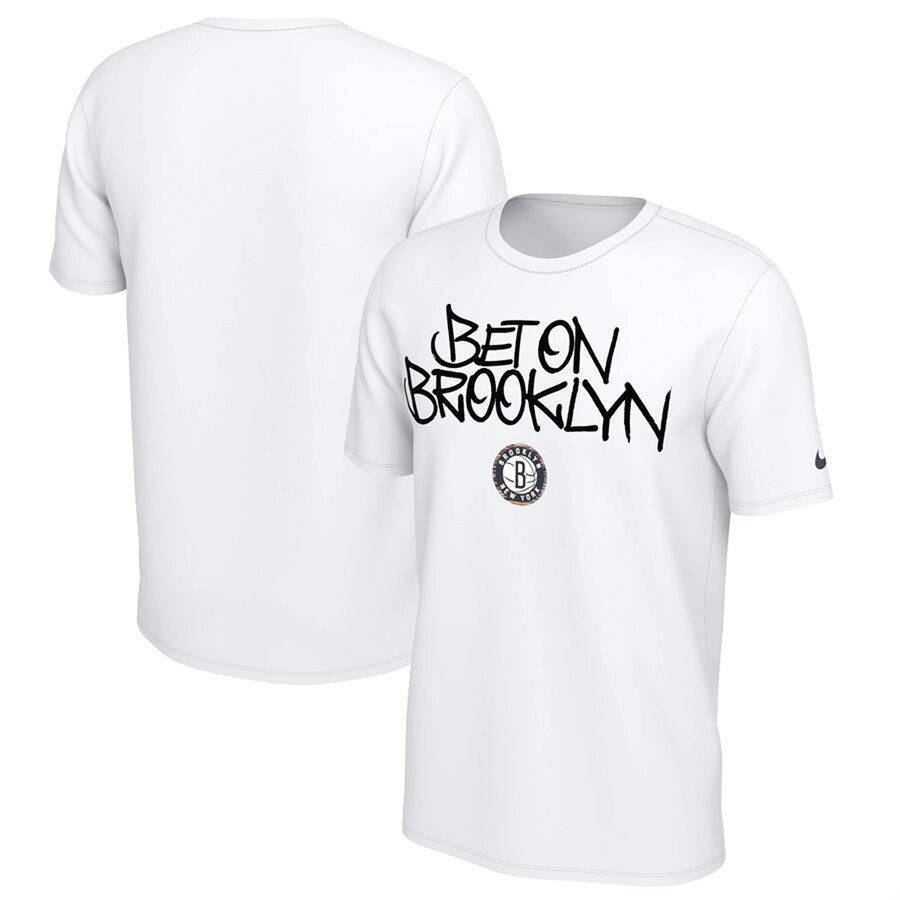 Men 2020 NBA Nike Brooklyn Nets White Biggie Mantra TShirt