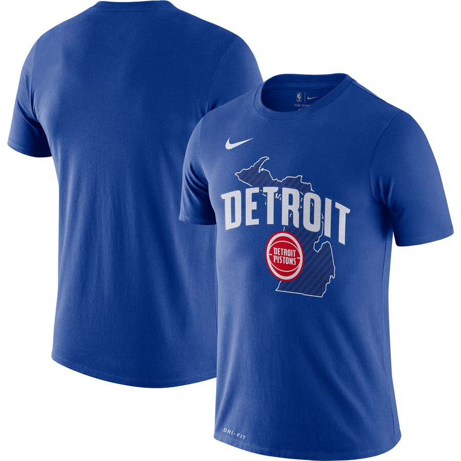 Men 2020 NBA Nike Detroit Pistons Blue 201920 City Edition Hometown Performance TShirt