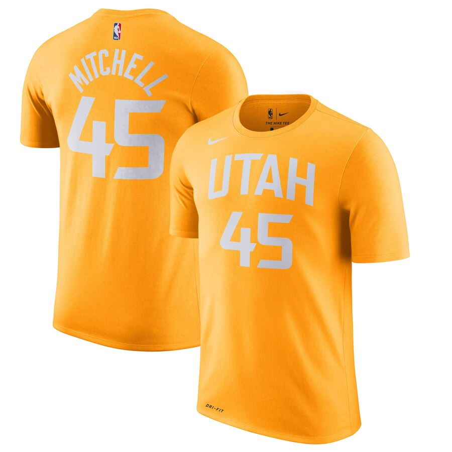 Men 2020 NBA Nike Donovan Mitchell Utah Jazz Gold 201920 City Edition Name Number TShirt.