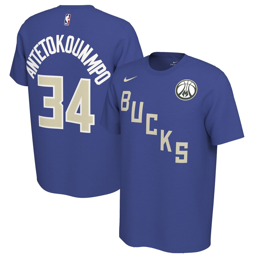 Men 2020 NBA Nike Giannis Antetokounmpo Milwaukee Bucks Blue 201920 Earned Edition Name Number TShirt