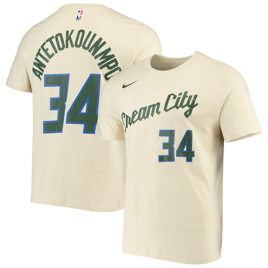 Men 2020 NBA Nike Giannis Antetokounmpo Milwaukee Bucks Cream 201920 Name Number Performance TShirt City Edition