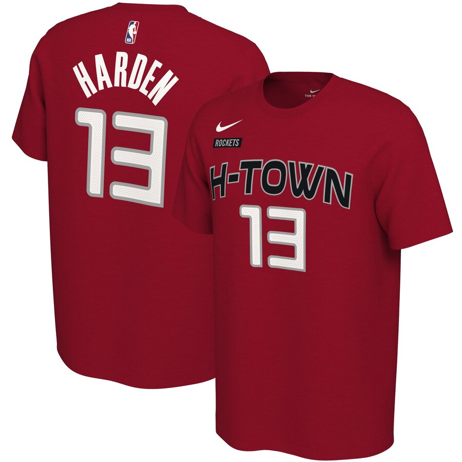 Men 2020 NBA Nike James Harden Houston Rockets Red 201920 City Edition Variant Name Number TShirt