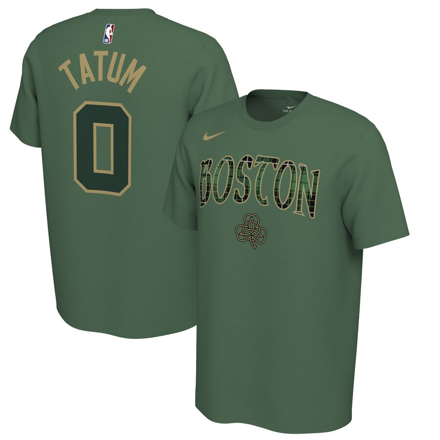 Men 2020 NBA Nike Jayson Tatum Boston Celtics Green 201920 Earned Edition Name Number TShirt