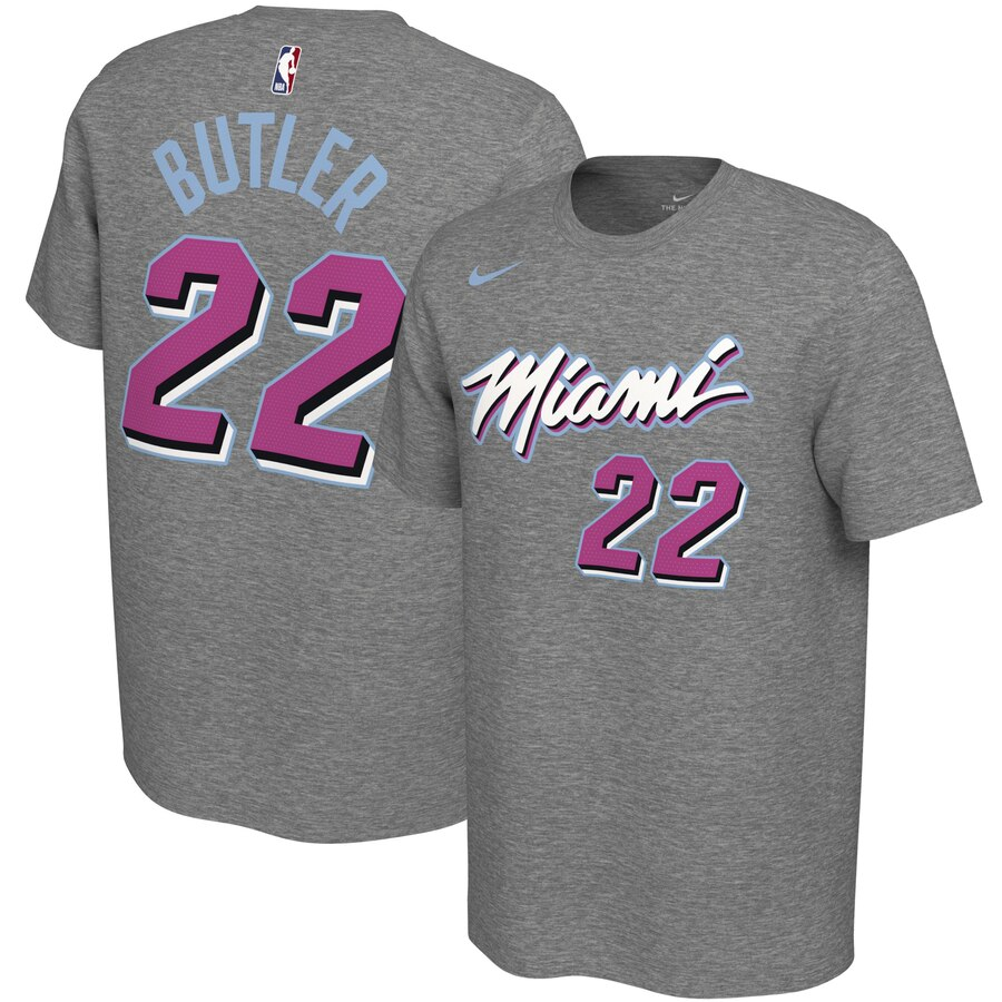 Men 2020 NBA Nike Jimmy Butler Miami Heat Gray 201920 City Edition Variant Name Number TShirt