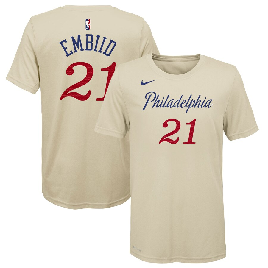 Men 2020 NBA Nike Joel Embiid Philadelphia 76ers Youth Cream 201920 City Edition Name Number TShirt