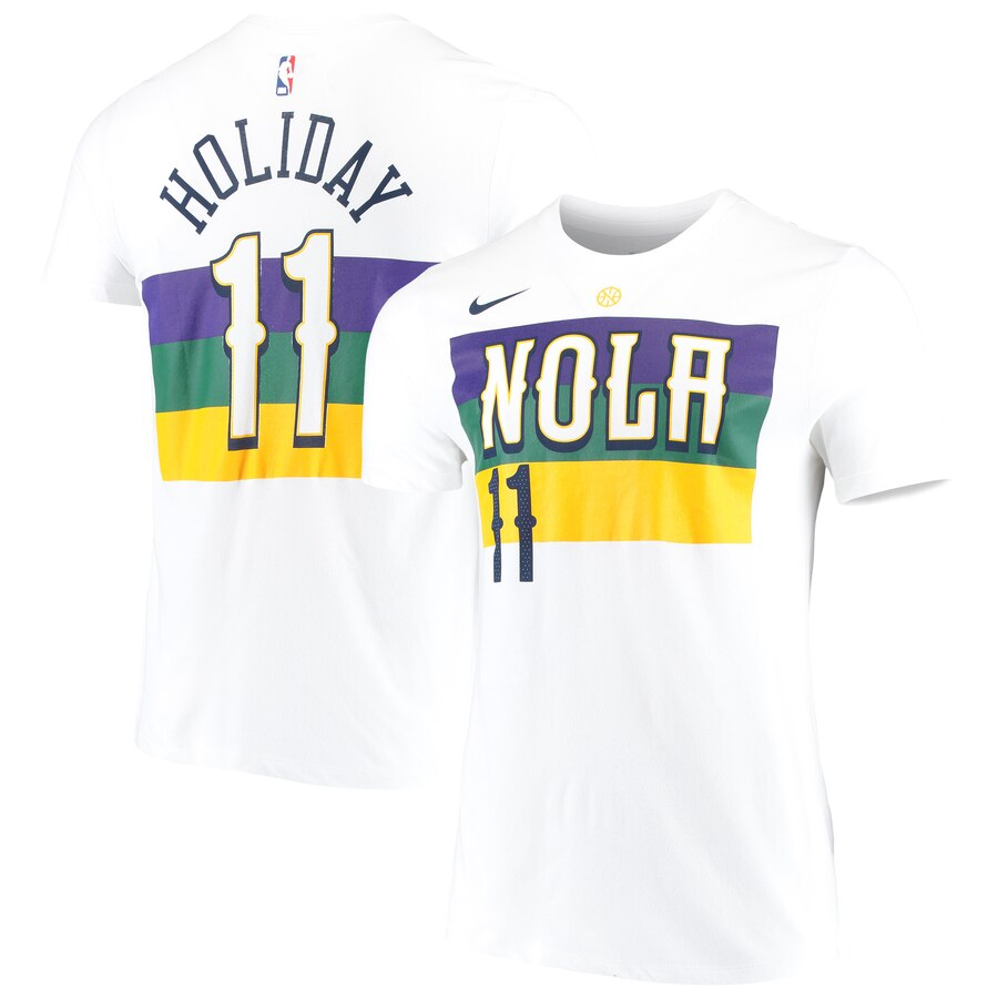 Men 2020 NBA Nike Jrue Holiday New Orleans Pelicans White 201920 City Edition Name Number Performance TShirt