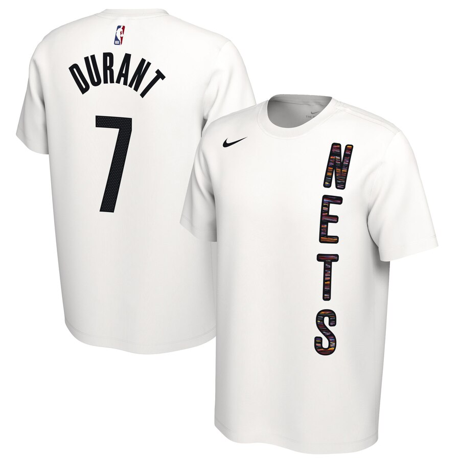 Men 2020 NBA Nike Kevin Durant Brooklyn Nets White 201920 Earned Edition Name Number TShirt