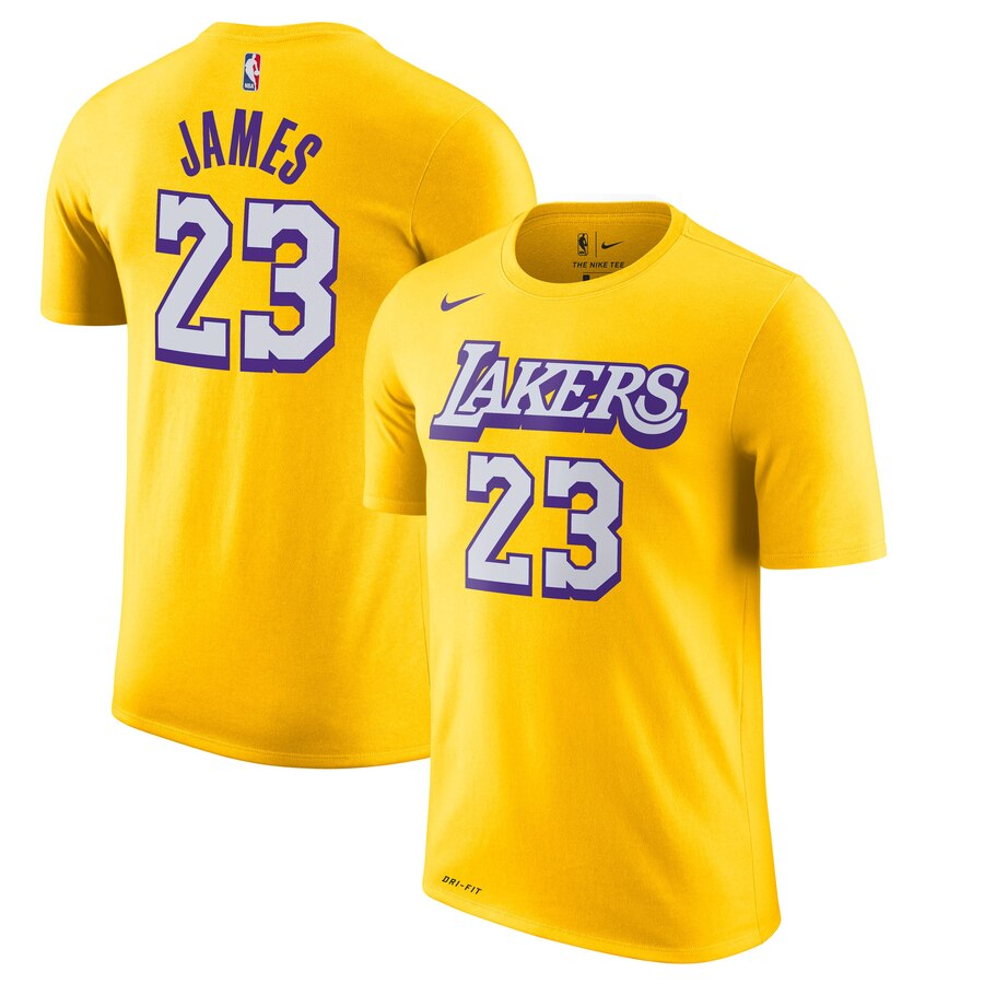 Men 2020 NBA Nike LeBron James Los Angeles Lakers Gold 201920 City Edition Name Number TShirt.
