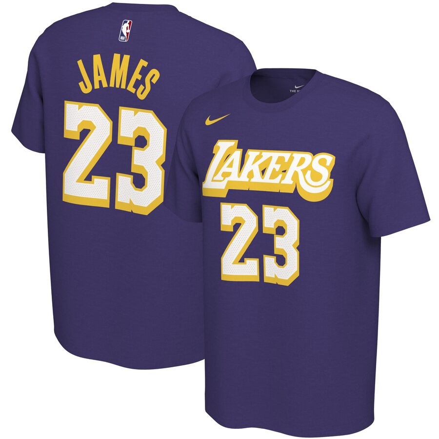 Men 2020 NBA Nike LeBron James Los Angeles Lakers Purple 201920 City Edition Variant Name Number TShirt
