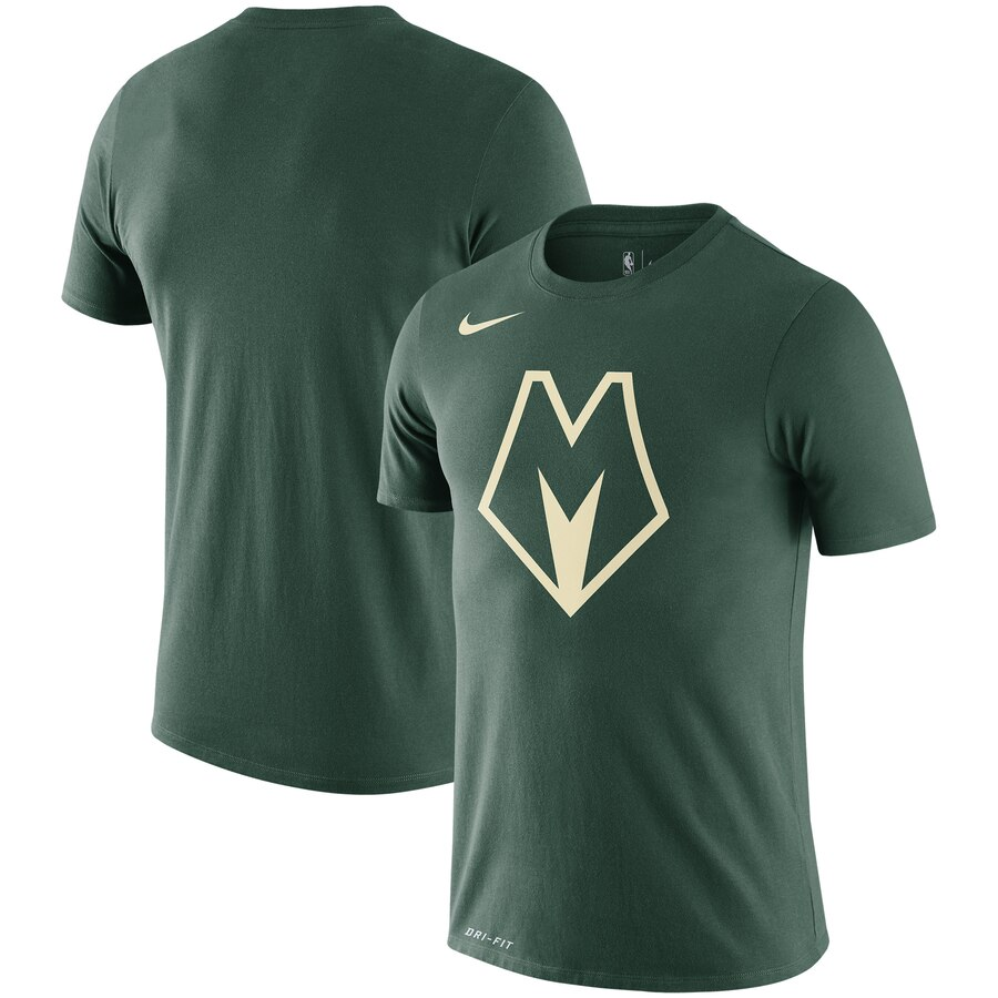 Men 2020 NBA Nike Milwaukee Bucks Green City Edition Logo DFCT Performance TShirt