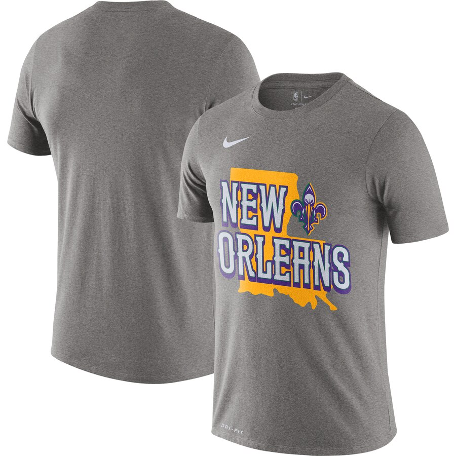 Men 2020 NBA Nike New Orleans Pelicans Heather Gray 201920 City Edition Hometown Performance TShirt
